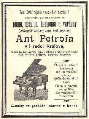 Petrof - 1895 ad for Petrof pianos