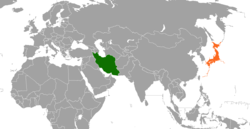 Map indicating locations of Iran and Japan