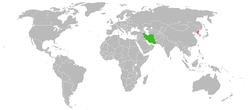 Map indicating locations of North Korea and Iran