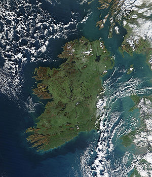 Outline of the Republic of Ireland - An enlargeable satellite image of the island of Ireland