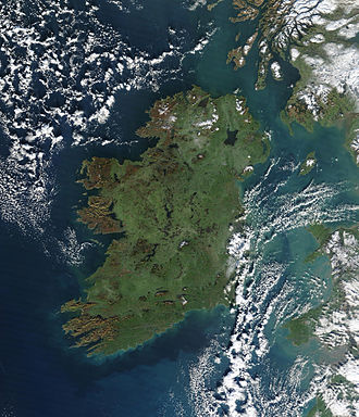 Hibernia - True-colour image of Ireland, captured by a NASA satellite on 4 January 2003. Scotland, the Isle of Man, Wales and a part of southwest England are visible to the east.