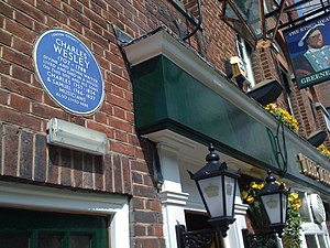 Sarah Wesley - The place where Sarah Wesley and Charles Wesley lived and died is commemorated by a plaque on a pub in Marylebone in London.
