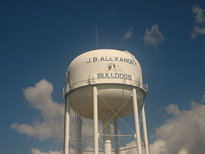 United Independent School District - Water tower advertises J.B. Alexander Bulldogs in Laredo.