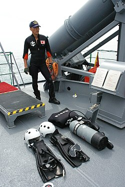 JMSDF Rescue diver and diving equipment.JPG