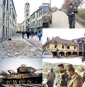 1991 Yugoslav campaign in Croatia - Clockwise from the top left: bombardment damage on Stradun, Dubrovnik, a Serbian Volunteer Guard patrol near Erdut, ruins in Vukovar, JNA officer inspecting documents near Dubrovnik, a destroyed T-34 tank near Karlovac