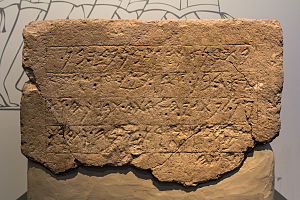 Ekron Royal Dedicatory Inscription - Image: JRSLM 300116 Ekron inscription