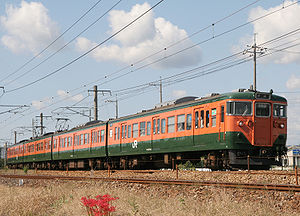 113 series - JR-West 4-car set on a Sanyō Main Line service, October 2009