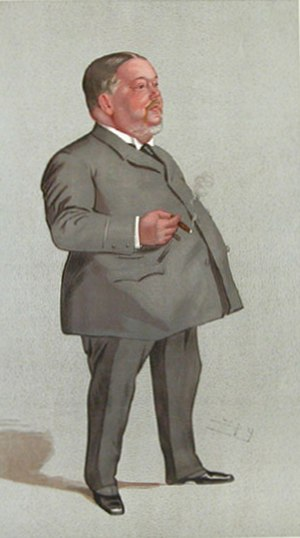 """Jabez Balfour - """"Burnley"""" Balfour as caricatured by """"Spy"""" in Vanity Fair, March 1892"""