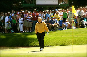 Jack Nicklaus - Nicklaus walks up to his ball on the 9th hole of the par-3 course at Augusta National Golf Club during the 2006 par-3 contest.