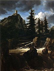 Castle on a Mountain with a Waterfall and Pine trees