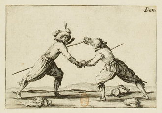A Swordfight, etching by Jacques Callot (1617) Jacques Callot (1592-1635), Graveur.- Le duel a l'epee.png