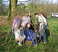 James Watt Students in their living Willow Shelter.JPG