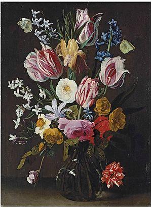 Jan Philip van Thielen - A vase of flowers on a ledge