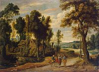 Jan Wildens Landscape with Christ and his Disciples on the Road to Emmaus