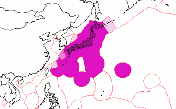 Japan's exclusive economic zones: Japan's EEZ Joint regime with Republic of Korea EEZ claimed by Japan, disputed by others Japan Exclusive Economic Zones.png