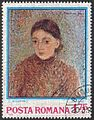 Jeanne by Camille Pissarro, 1892 on a Romanian postage stamp.jpg