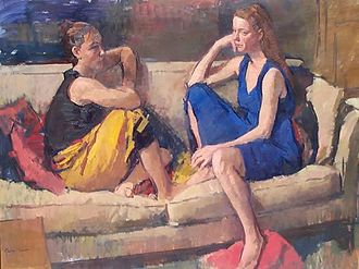 """Jerry Weiss (artist) - Friends, 2003, oil on canvas, 36"""" by 48""""."""