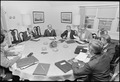 Jimmy Carter, Cyrus Vance meet with Menahem Begin and other members of the Israeli delegation at Camp David. - NARA - 181187.tif