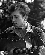Photo of Bob Dylan at the Civil Rights March on Washington, D.C. in 1963.