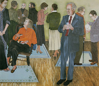 """Mona Van Duyn - Artist Joan Elkin's 1993 painting """"Jarvis Thurston and His Circle"""" captures key members of the Washington University literary community. Ms Van Duyn (seated) and Dr. Thurston occupy the foreground. Novelist Stanley Elkin talks with Richard Stang, far right. Behind Ms. Van Duyn are poet Donald Finkel (in glasses) and painter Arthur Osver."""