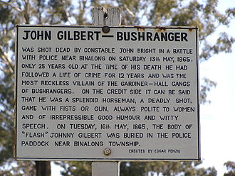 John Gilbert (bushranger) - Image: John Gilbert Grave Info
