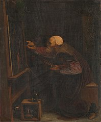 Titiaan, zijn laatste werk schilderend