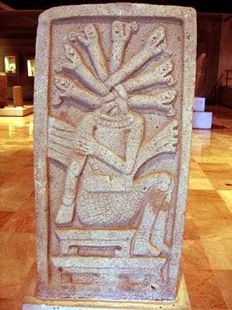 Classic Veracruz culture - A stela from the Classic Veracruz site of Aparicio, showing a sacrificed ballplayer, 400-700 CE. Height: 125 cm (4 ft).