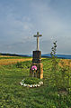 Kříž na kraji obce u cesty na Melkov, Okrouhlá, okres Blansko.jpg