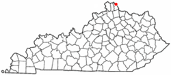 Location of Melbourne, Kentucky