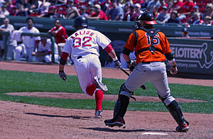 Strikeout - The batter attempting to advance to first base after an uncaught third strike, which the catcher has already retrieved and is about to throw to the first baseman to record the putout