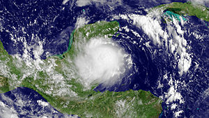 Hurricane Karl - Tropical Storm Karl moving ashore in the Yucatán Peninsula on September 15