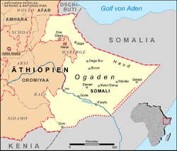Map of Ethiopia (in German language) with the Somali region, Ogaden and the Haud – the Provincial lines prior to 1995 in grey, the contemporary regional lines in red. Image: Lencer.