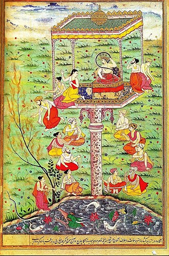 Janamejaya - Parikshit bitten by Takshak from Birla razmnama.