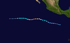 The track of Hurricane Kenneth in 2011, the latest Category 4 hurricane recorded in the northeastern Pacific basins