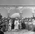 King Abdullah I of Jordan visiting the Dome of the Rock in Jerusalem, 1 June 1948.png