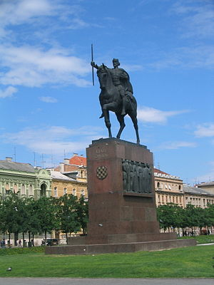 Robert Frangeš-Mihanović - Frangeš-Mihanović's equestrian statue of King Tomislav in Zagreb, opposite the central railway station, installed in 1947