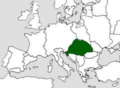 Kungadömet Ungarns territorium i slutningen af 1400-tallet.