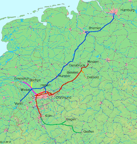 Cologne-Minden trunk line in dark red