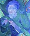 Knitting, by Berta Rosenbaum Golahny, oil on canvas, 1980, 36 x 30 in.jpg