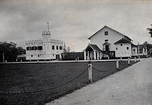 Kuching - The Kuching state prison was situated beside the Square Tower building in 1896.