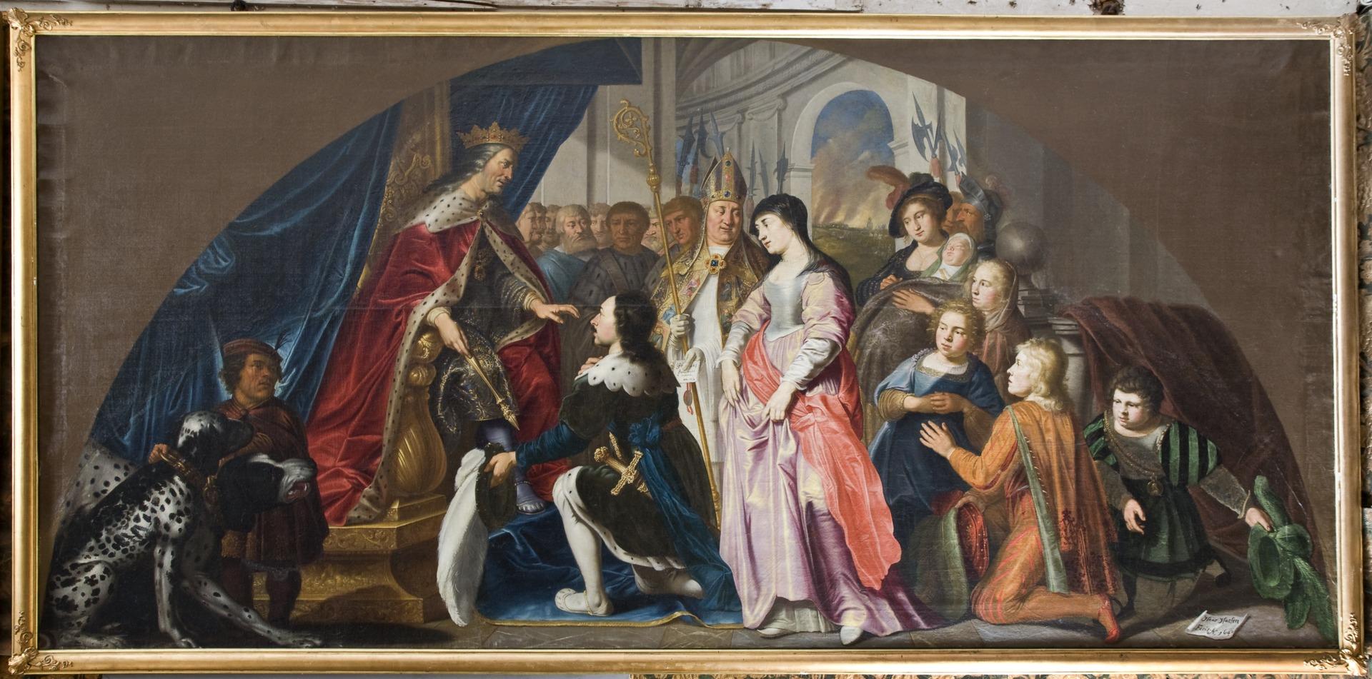 Kung Harald Klak kommer till Kejsaren Ludvig år 826. Isaac Isacsz. Måleri. Historiebild - Skoklosters slott - 85995.tif