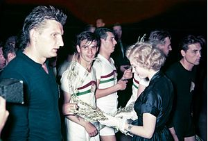 Football at the 1952 Summer Olympics - Miss Universe 1952 Armi Kuusela awarding the Hungarian team