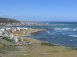 View over L'Agulhas from the lighthouse; Struisbaai can be seen in the distance