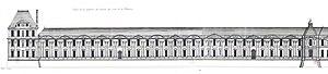 Jacques Androuet II du Cerceau - Image: L'Architecture française (Marot) Bn F RES V 371 173v f 378 Louvre, Face de la partie occidentale de la Grande Galerie du côté de la rivière (adjusted)