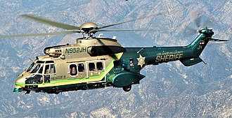 Los Angeles County Sheriff's Department - The AS332 Super Puma flying a SAR mission
