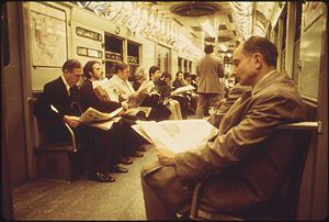 LEXINGTON AVENUE LINE SUBWAY RIDERS ABOARD A N...