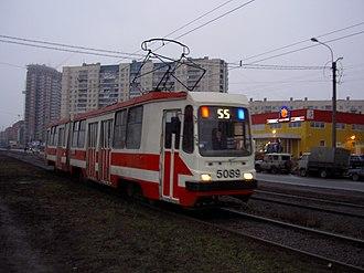 LVS-97 - LVS-97 tram at Il'yushina street in Saint Petersburg.