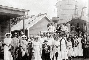 History of Honduras (1838–1932) - A railroad station in La Ceiba, c. 1915.