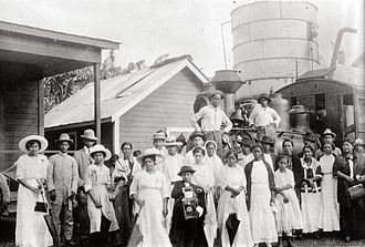 History of Honduras (1838–1932) - A railroad station in La Ceiba, c. 1915.