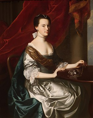 Sir John Wentworth, 1st Baronet - Frances Wentworth, by John Singleton Copley, 1765. At the time of this painting, she was Mrs. Theodore Atkinson.